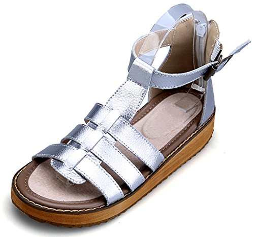 CAMSSOO Ladies Girls Gladiator Platform Wedge Open Toe Ankle Strap Thong Comfortable Sandals Silver LfCaC4B