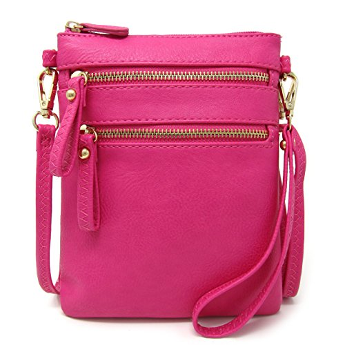 Multi Faux Zipper Wristlet Crossbody Solene Fuchsia Pockets Leather Bag Detachable With Women's Handbag Organizer H41ZZIgq