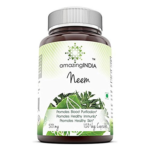 Amazing India Neem 500 Mg 120 Vegetarian Capsules   Promotes Blood Purification   Promotes Healthy Immunity And Promotes Health Skin