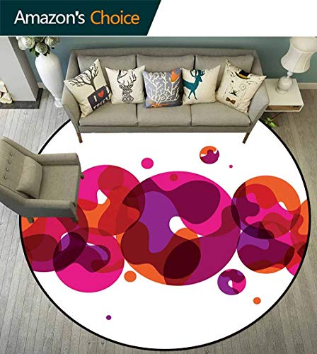 Porcello Bubbles - Abstract Round Carpet playmat,Circles Small and Big Dots with Wavy Patterns Artistic Bubbles Border for Living Room,Pink Fuchsia Orange,D-47