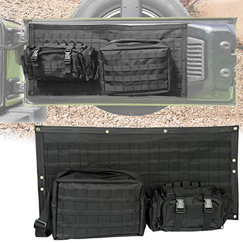 Yoursme Tailgate Bag Case Cover Black Storage Pockets Tool Kit Organizer Detachable for Jeep Wrangler JK JKU 2007 2008 2009 2010 2011 2012 2013 2014 2015 2016 2017 2018