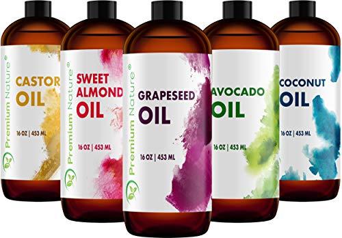 Carrier Oils For Essential Oil - Coconut Oil Castor Oil Grapeseed Oil Avocado Oil & Sweet Almond Oil 16oz Each 5 Piece Variety Set - Best Oils for Stretch Mark - Each Pack Ounce 16