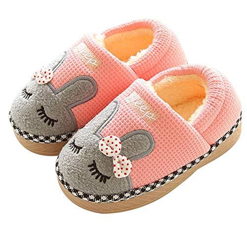 Fluffy Velvet Embroidered Animal Slipper Booties Boys Girls Pull on House Shoes Non Slip Rubber Sole Bow Knot Decor