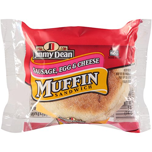 - Jimmy Dean Muffin and Sausage, Egg with Cheese Sandwich, 5 Ounce -- 12 per case.