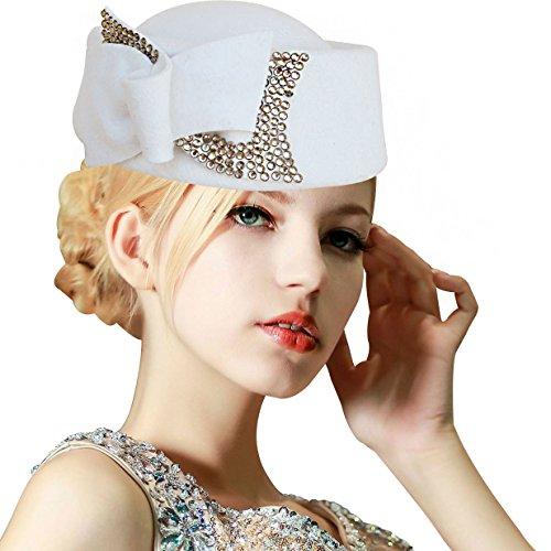 Ladies Rhinestone Teardrop Fancy Wool Fascinator Cocktail Pillbox Cap Hat A254 (White)