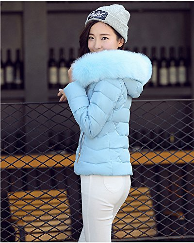 Azul Mangas Mujeres Corto largas Quilting Abajo algodón de Mezcla Grueso Chaqueta Outcoat Chaqueta Hq7xrFIq