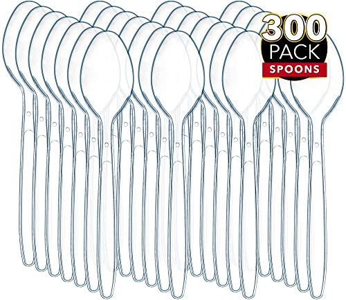 300 Clear Plastic Spoons   Heavy Duty Plastic Silverware Spoons   Fancy Plastic Cutlery   Elegant Disposable Spoons Pack   Bulk Disposable Flatware   Plastic Utensils Set   Nice Disposable Silverware