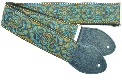 Souldier Custom GS0395BK02NV Handmade Arabesque Guitar Strap, Navy Brown Tapestry