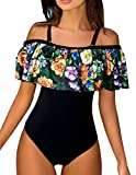 Z-Dear Women Vintage One Piece Bathing Suit Off Shoulder Bikini with Printed Ruffled Flounce Swimwear