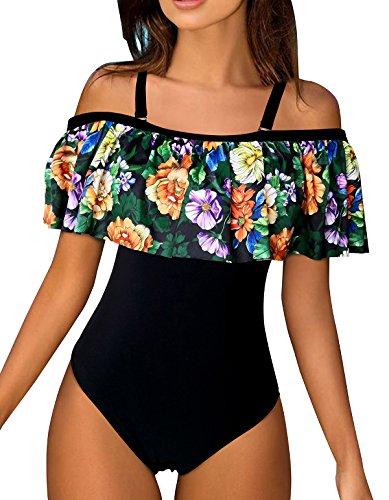 Z-Dear Women Vintage One Piece Bathing Suit Off Shoulder Bikini with Printed Ruffled Flounce Swimwear
