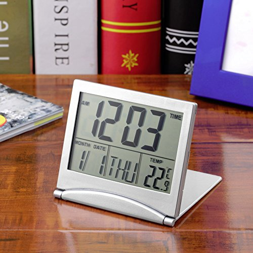 1pcs Calendar Alarm Clock Display date time temperature flexible mini Desk Digital LCD Thermometer cover Worldwide Store digital clock battery powered clock battery (Alarm Clock Purse)