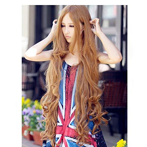 Zr Medium Length Bangs Long Curly Hair Wig Long Air Roll Wig 100Cm Heat Resistant Cosplay Party Bob Hair Wig for Lady Madam Daily Life