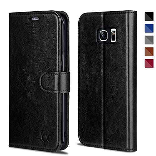 OCASE Galaxy S7 Edge Case [TPU Shockproof Interior Protective Case] [Card Slot] [Kickstand] Leather Wallet Flip Case Samsung Galaxy S7 Edge (Black) (Best S7 Edge Wallet Case)