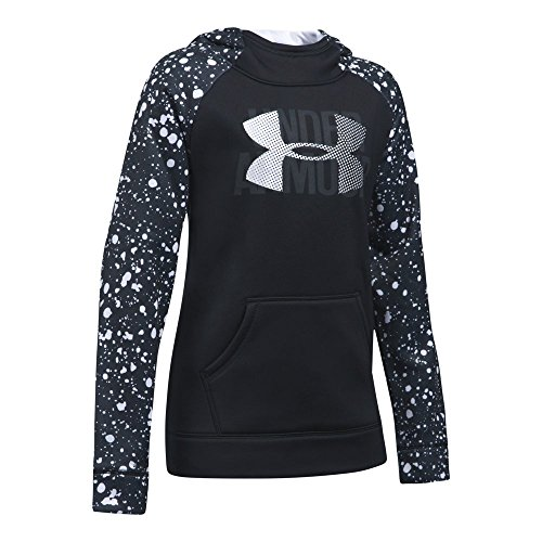 Under Armour Girls' Armour Fleece Big Logo Printed Hoodie,Black/Black,Youth Large (Big Logo Fleece Hoodie)