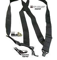 "Hold-Ups Black No-buzz Undergarment 1 1/2"" Wide Trucker Style Hip Clip Suspenders"