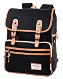 [HotStyle Basic Classic] SmileDay Vintage Laptop Backpack for College School, Black