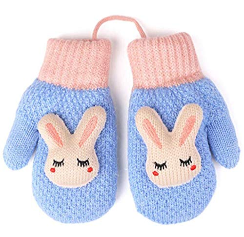 Toddler Kids Winter Warm Thick Full Finger Gloves Children Assorted Color Magic Ski Gloves Mittens (Sky Blue Bear Mittens)