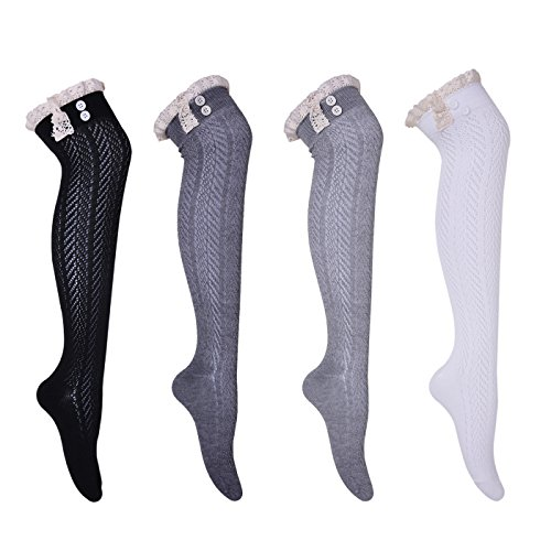 HDE Womens Knee High Boot Socks Lace Trim Boot Cuff with Button Stockings 4 pack Button Trim Boot