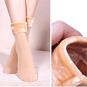 Sikye Winter Wool Women Thicken Thermal Soft Casual Solid Socks Keep Warm Boot Sock Tights