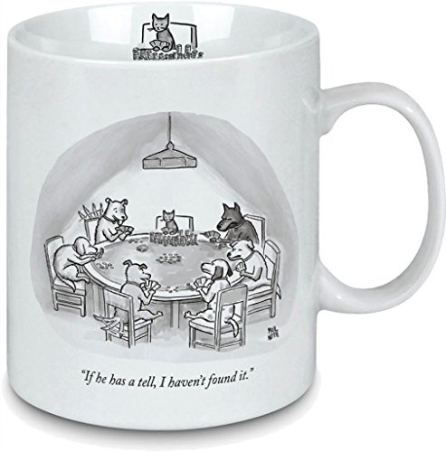 - Porcelain Mug - New Yorker Cartoon Cat's Tell - Perfect gift for cat lovers.