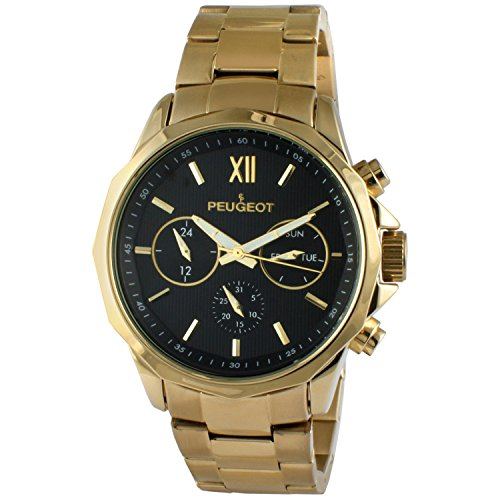 Peugeot Men's 14K Gold Plated Stainless Steel Multi-function Calendar Watch