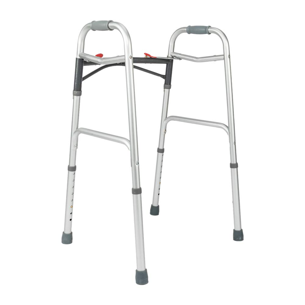 Mefeir Easy Folding Standard Arc Rod Walker w/Push Button-Safety Mobility Aid for Adult, Senior, Elderly&Handicap, Lightweight, Portable, Adjustable Height, Ultra Convenient, Silver&Gray