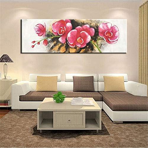 現代の抽象ポスターとプリント壁アートキャンバス絵画水彩赤い花写真壁の装飾リビングルームの壁50×150センチ枠なし
