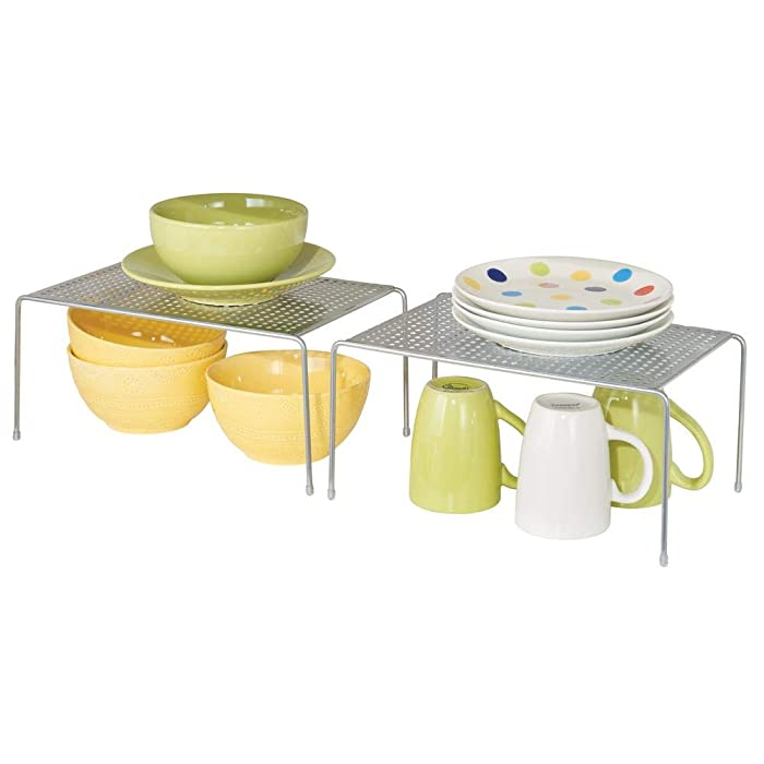 mDesign Metal Kitchen Pantry, Countertop Organizer Storage Shelves, Raised Cabinet Shelf Racks - for Food, Dishes, Plates, Dishes, Bowls, Mugs, Glasses Non-skid Feet - Small, 2 Pack - Silver