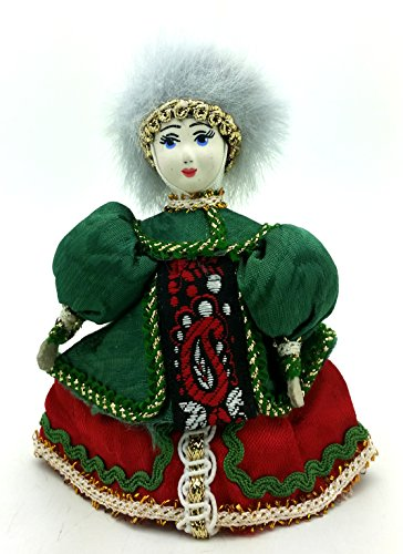 (CHRISTMAS Tree Ornament Russian Doll in traditional folk costume with porcelain hand painted face / Girl in a green dress)