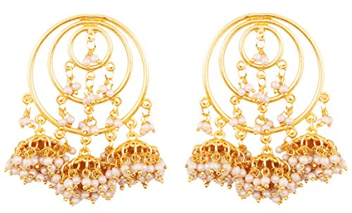 Mother Of Pearl Circular Earring (Touchstone Indian Bollywood traditional circular wire bridal designer bali jhumki earrings with bunches of faux pearls for women in gold tone)