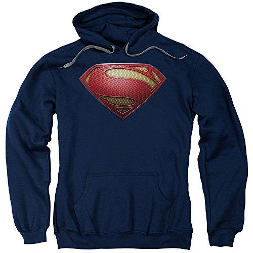 Superman Hoodie For Adults (Man Of Steel Superman Movie Mos Shield Adult Pull-Over Hoodie, Blue, Large)