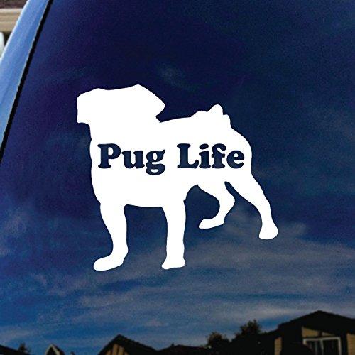 "Pug Life Puppy Car Window Vinyl Decal Sticker 4"" Wide"