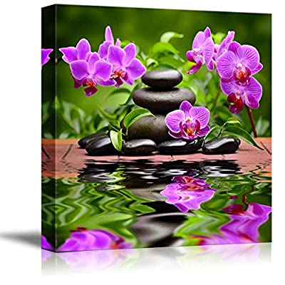 Canvas Prints Wall Art - Zen Basalt Stones and Orchid Spa,Beauty and Calmness Concept | Modern Wall Decor/Home Decoration Stretched Gallery Canvas Wrap Giclee Print & Ready to Hang - 16