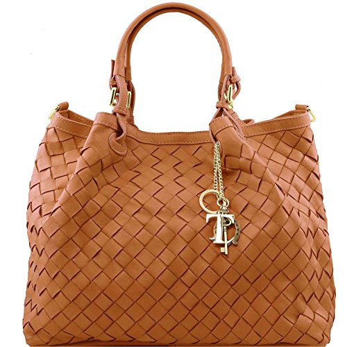 Tuscany Leather - TL KeyLuck - Sac shopping en cuir tressé à main - Grand modèle - Cognac