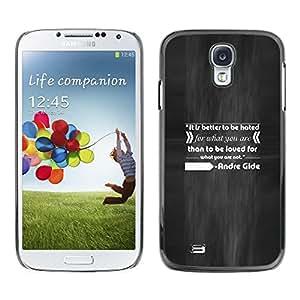 Caucho caso de Shell duro de la cubierta de accesorios de protección BY RAYDREAMMM - Samsung Galaxy S4 I9500 - Andr¨¦ Gide Quote Inspiring Love Hate Do What