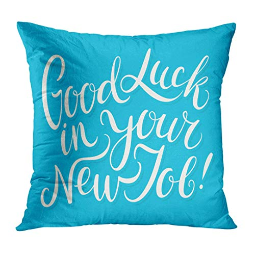 Nextchange Text Good Luck in Your New Job Best Congrats Congratulations Farewell Greeting Cotton Creative Design Pillowcase (Two Sides) Pillow Cover Great Festival Gift
