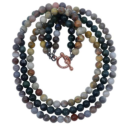 SatinCrystals Agate Medley Necklace Boutique Multi-Strand Botswana Green Moss Agate Yellow Crazy Lace Gemstone Triple B01 (20
