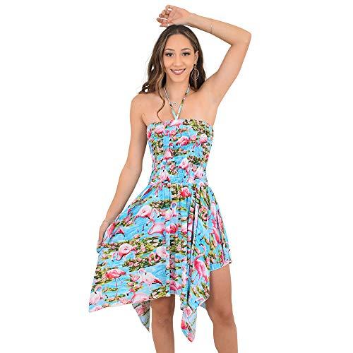 ISLAND STYLE CLOTHING Ladies Pixie Flamingo Dress Zigzag Hem Gypsy Luau Beach Party -