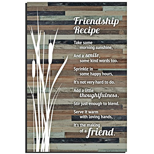 Friendship Wall Plaque - Lela & Ollie Friends Wood Plaque Inspiring Quotes (6 x 9 Inches) - Classy Rustic Vertical Frame Wall and Tabletop Art Decoration with Easel and Hanging Hook | Friendship Recipe Thoughtfulness Sayings