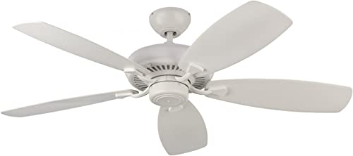 Monte Carlo 5DM52RZW Designer Max Dual Mount Energy Star 52 Ceiling Fan with Pull Chain, 5 Blades, Rubberized White