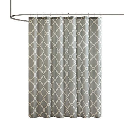 Comfort Spaces - Milton - Premium Quality Bath Shower Curtain - Fretwork Design- Grey - 72 by 72 inches