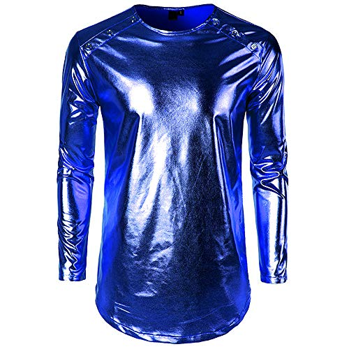 Glossy Stacked Top Men Fashion Bright Collar Glove Personality Long Sleeve Shirt