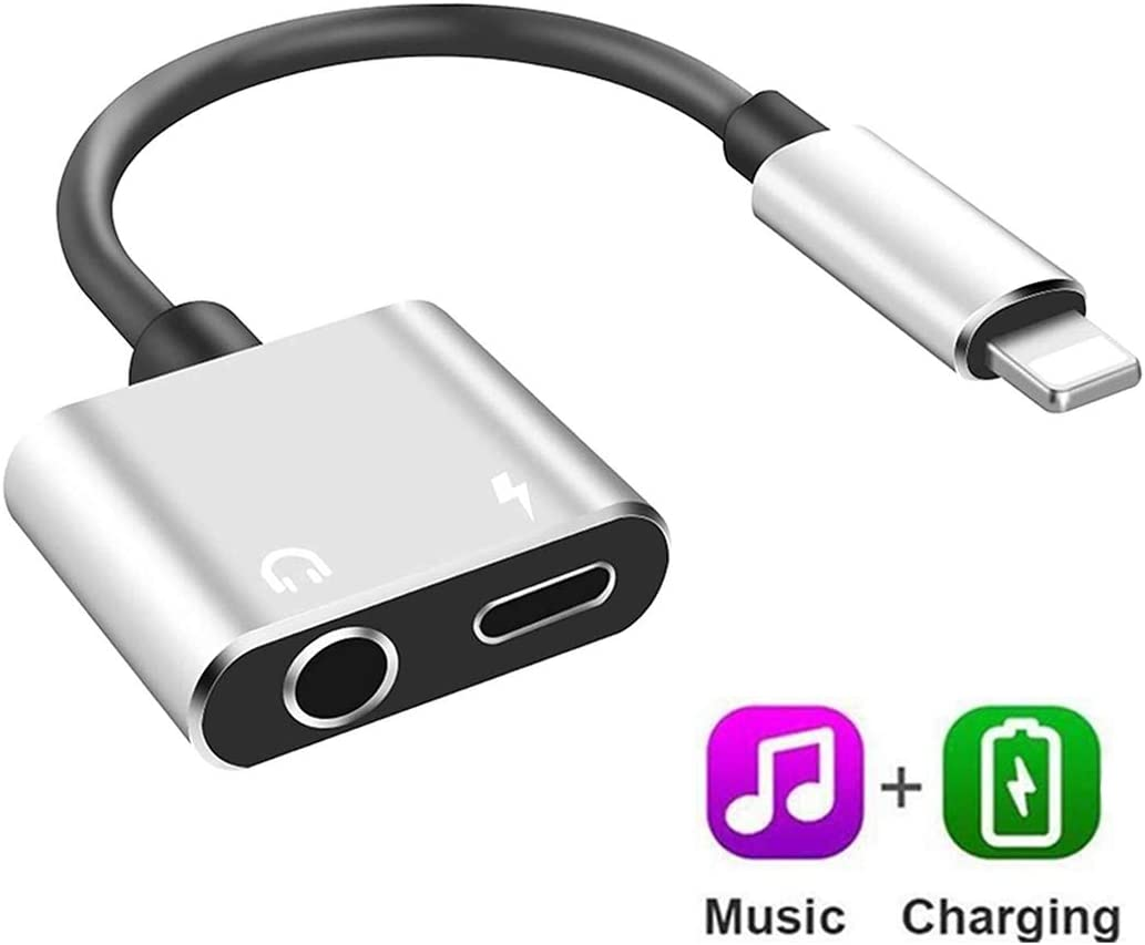 Headphone Adapter Charger Aux Splitter for iPhone 11/ XR/ 7/7 Plus/ 8/8 Plus/X/10/ XS Dongle Earphone Audio Jack Adapter