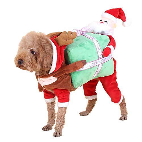Fancy Dog Costume with Carrying Present Christmas Dog Cat Fancy Jumpsuit Cloth Party Cosplay Apparel (L)