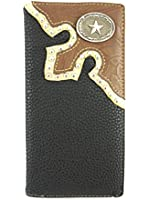 Mens Leather Checkbook Wallet with Western Style Lone Star Concho Billfold