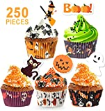 250 Pack Halloween Party Supplies Standard Paper Cupcake Liners Holders Toppers Wrappers Disposable Baking Cups Muffin Liners for Halloween Party Decoration