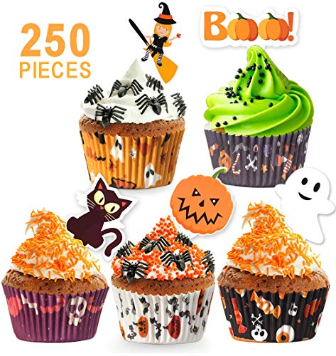 (250 Pack Halloween Party Supplies Standard Paper Cupcake Case Liners Holders Toppers Wrappers Disposable Baking Cups Muffin Liners for Halloween Party)