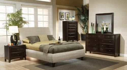 Coaster Home Furnishings  Phoenix Modern Transitional Sleigh Headboard Round Profile Upholstered Bed - Eastern King - Beige Fabric / Cappuccino