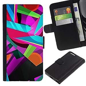 For Apple iPhone 6 Plus(5.5 inches),S-type® Colors Colorful Teal Pink Shapes - Dibujo PU billetera de cuero Funda Case Caso de la piel de la bolsa protectora