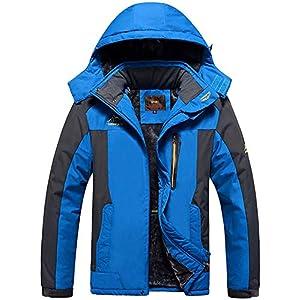TACVASEN Veste Ski pour Homme Vestes Imperméable Chaudes Polaires Vestes De Randonnée Manteau Épais avec Capuche Amovible